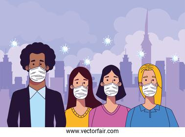 young interracial people wearing medical masks characters