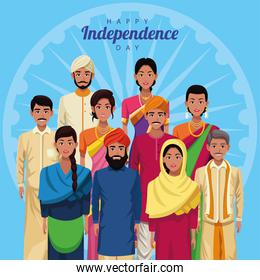 india happy independence day celebration card with group of people