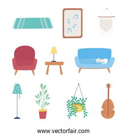home furniture sofa chair lamp plant table frame decoration icons set