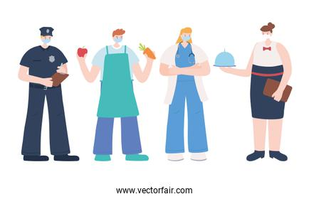 thank you essential workers concept, group people different jobs, wearing face masks, various occupations, coronavirus covid 19 disease