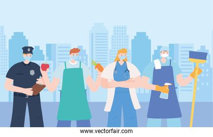thank you essential workers, group people employees, wearing face masks, various occupations, coronavirus covid 19 disease
