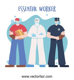 thank you essential workers, male group employees, wearing face masks, various occupations, coronavirus covid 19 disease