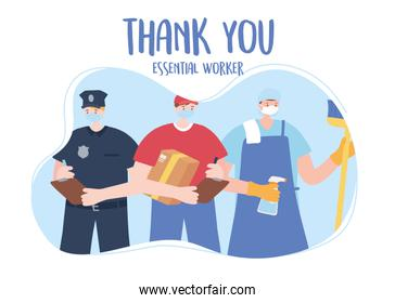 thank you essential workers, men group policeman delivery and cleaner, wearing face masks, various occupations, coronavirus covid 19 disease