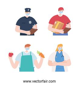 group of  people employees with face masks, various occupations, coronavirus covid 19 disease