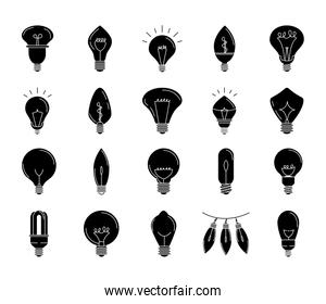 electric light bulb, eco idea metaphor, isolated line style icons set