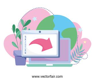 online education, laptop and tablet world, website and mobile training courses