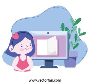 online education, student girl computer book lesson, website and mobile training courses