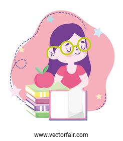 online education, student girl stack of books and apple, website and mobile training courses