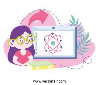 online education, student girl computer books science molecule, website and mobile training courses