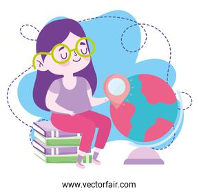 online education, student girl sitting on books and globe map, website and mobile training courses