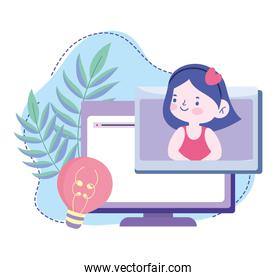 online education, student girl computer creativity class, website and mobile training courses
