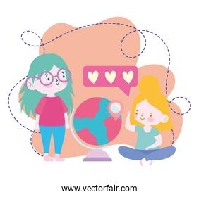 online education, student girls with school globe geography lesson, website and mobile training courses
