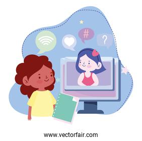 online education, student girls computer with book connection, website and mobile training courses