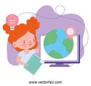 online education, student girl computer world and book, website and mobile training courses