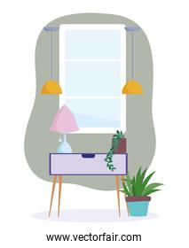 home room potted plants in table with lamp furniture decoration interior design