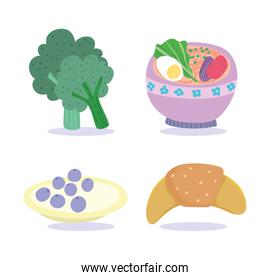 cooking fresh food cake broccoli croissant and soup icon set