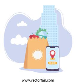 covid-19 coronavirus pandemic, delivery service, smartphone supermarket bag with food design
