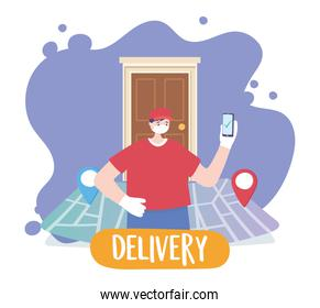 covid-19 coronavirus pandemic, delivery service, delivery man with mobile in door home, wear protective medical mask