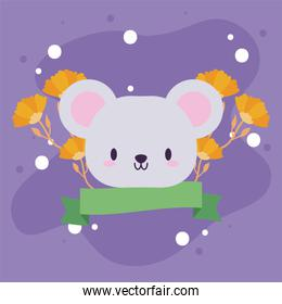 head of mouse kawaii with decor