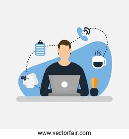 Man with laptop and icon set vector design