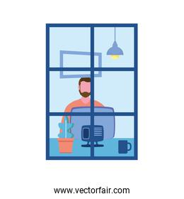 Man with computer at window vector design