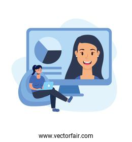 Woman with laptop on puf and computer vector design