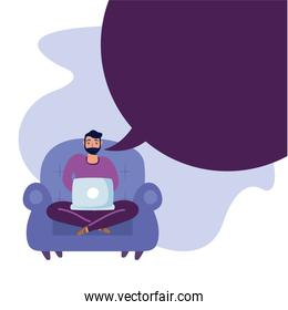 Man with laptop on chair vector design