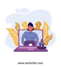 Man and woman with laptop and leaves vector design