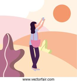girl taking picture at park vector illustration