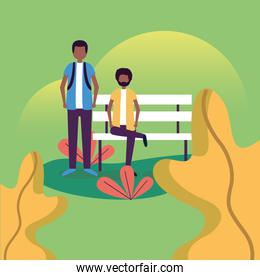 boys at park bench vector design