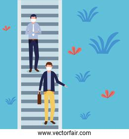 men with masks at park stairs vector design