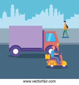 delivery truck motorcycle and man with mask at city vector design