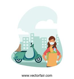 Delivery woman with mask motorcycle bag and boxes vector design