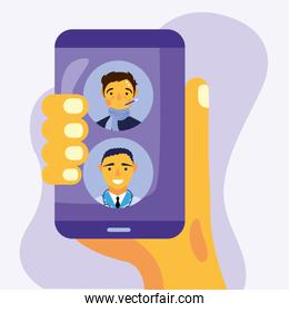 online male doctor and client on smartphone vector design