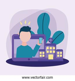 man with headache and smartphone on laptop vector design