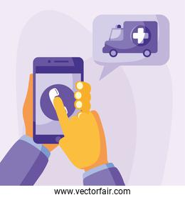 hand holding smartphone with phone and ambulance vector design