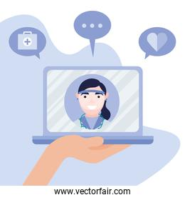 online female doctor on laptop with icon set vector design