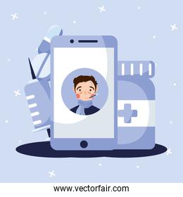 man with fever on smartphone vector design
