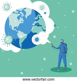 Man with protective suit spraying world with covid 19 vector design