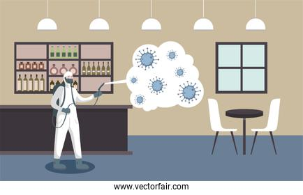 Man with protective suit spraying restaurant with covid 19 vector design