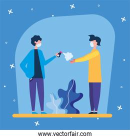 boy with mask spraying other hands boy vector design