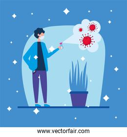 boy with mask spraying covid 19 virus vector design