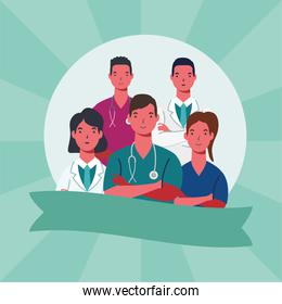 male and female doctors with uniforms and ribbon vector design