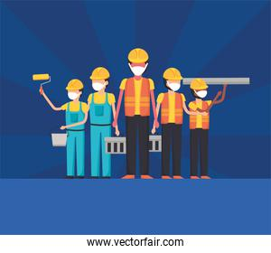 constructers men with masks vector design