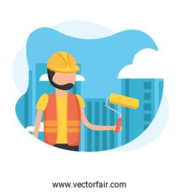 constructer man with helmet and paint roll vector design