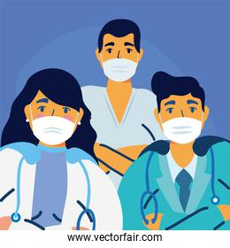 male and female doctors with uniforms and masks vector design