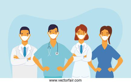 male and female doctors with uniforms and masks