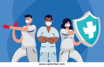 male and female doctors with uniforms masks and shield vector design