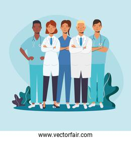 male and female doctors with uniforms vector design