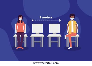 Social distancing between boy and girl with masks on chairs vector design